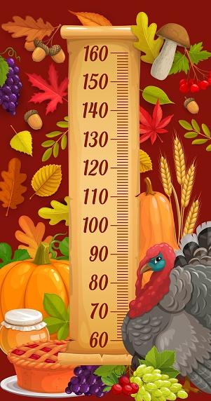 Kids height chart with turkey, autumn harvest