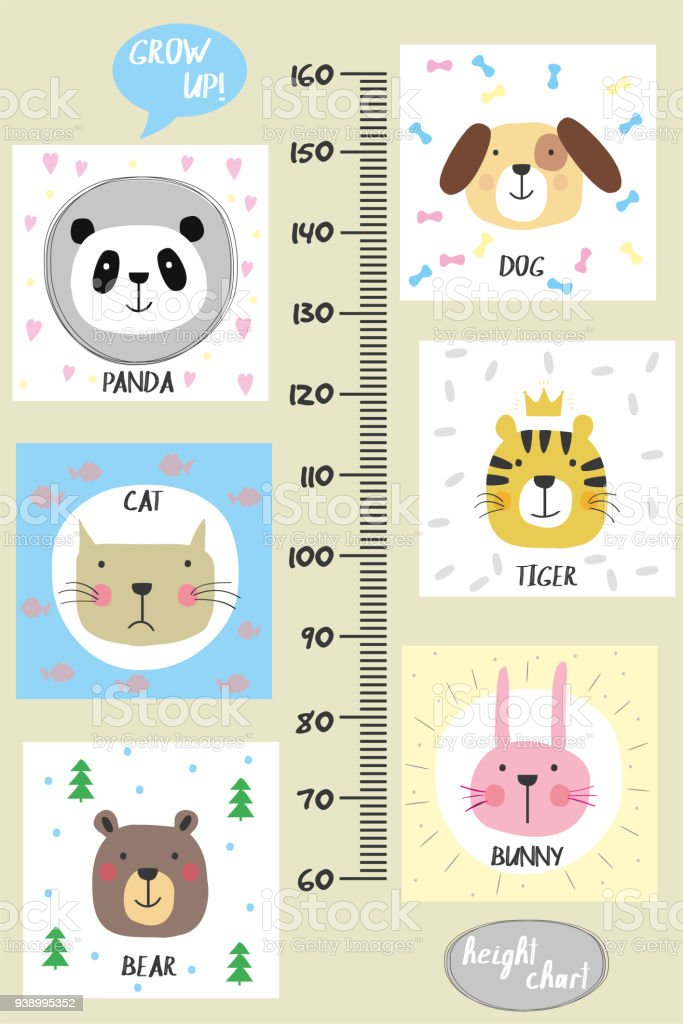 Kids height chart.Cute and funny animals vector art illustration