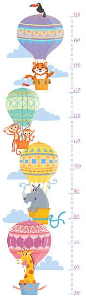 stockillustraties, clipart, cartoons en iconen met kids height meter with animal. - lang lengte