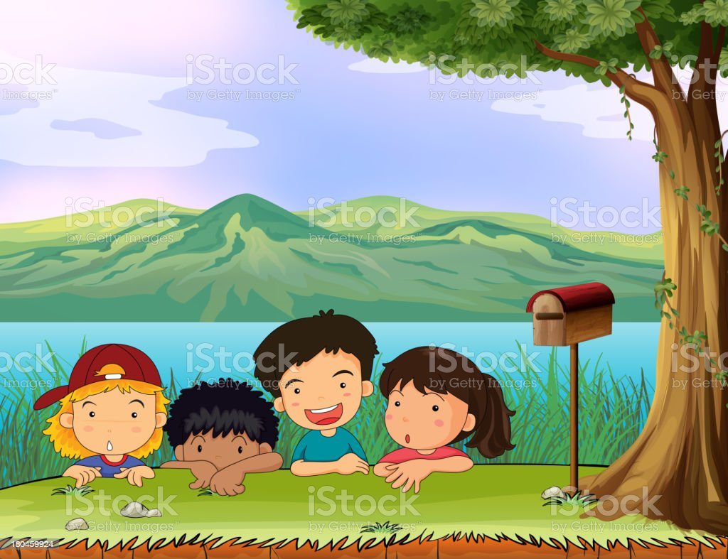 Kids hiding near the mailbox royalty-free kids hiding near the mailbox stock vector art & more images of adult