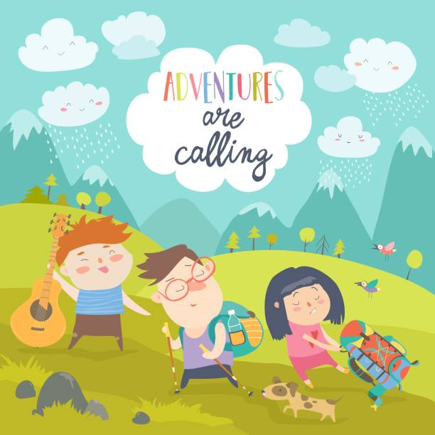 bildbanksillustrationer, clip art samt tecknat material och ikoner med barn vandring upp på berget - hund skog