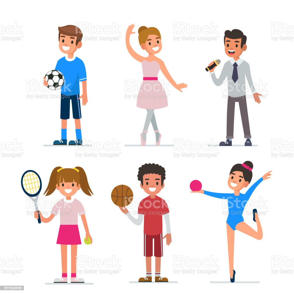 kid's  hobbies vector art illustration