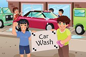 Kids Holding a Car Wash Poster