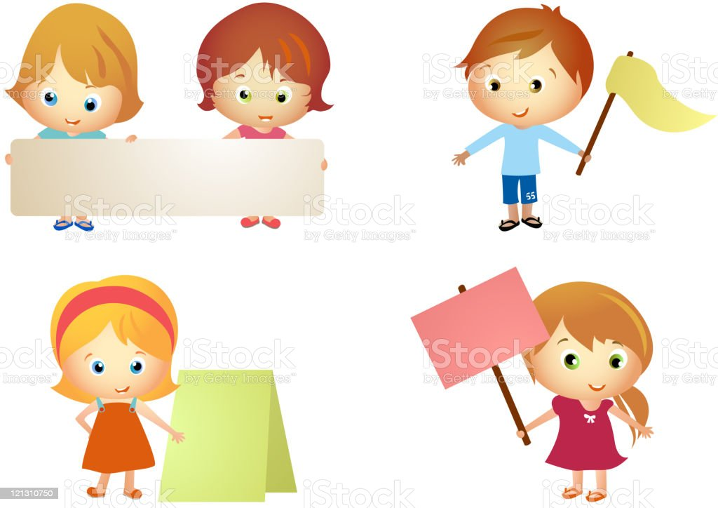 Kinder Halten Banner Stock Vektor Art und mehr Bilder von ...