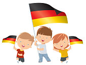 Kids holding Germany flag