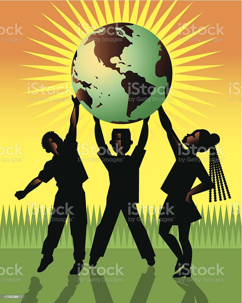 Kids Holding Globe vector art illustration