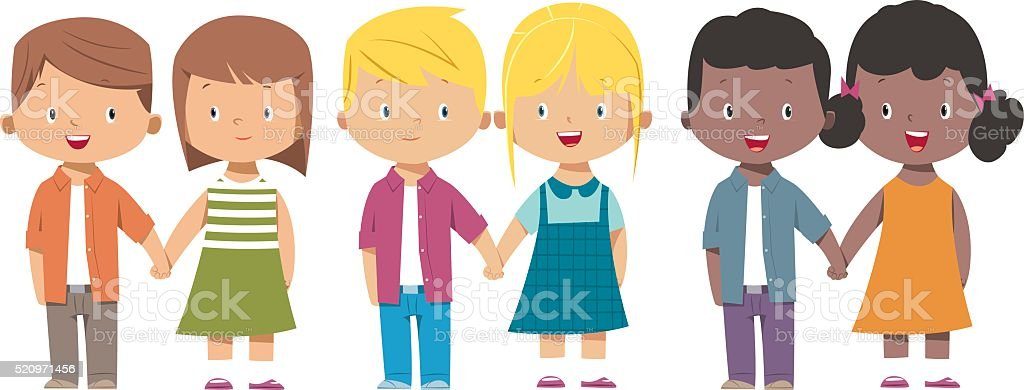 kids holding hand vector art illustration