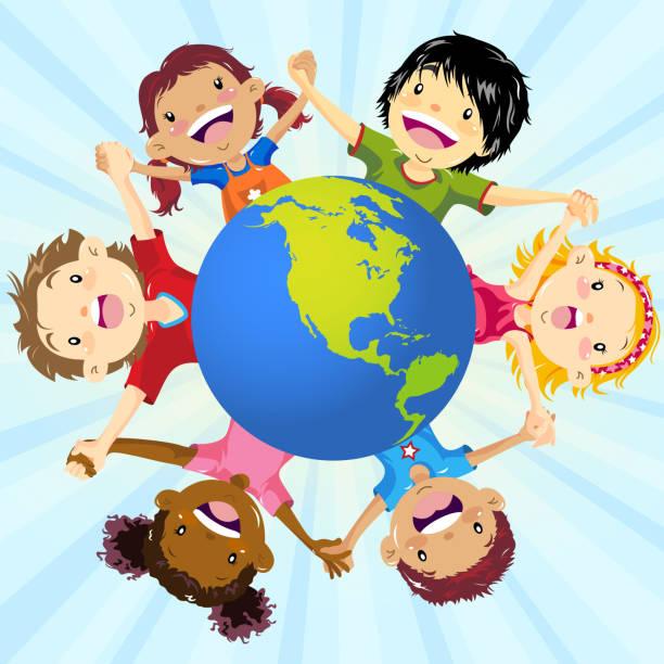 stockillustraties, clipart, cartoons en iconen met kinderen die hand in hand over hele wereld - kinderdag