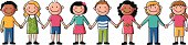 Muticultural kids holding hands. Objects are grouped and in separate layers.