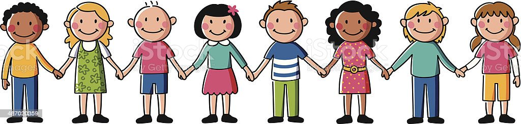 Kids holding hands vector art illustration