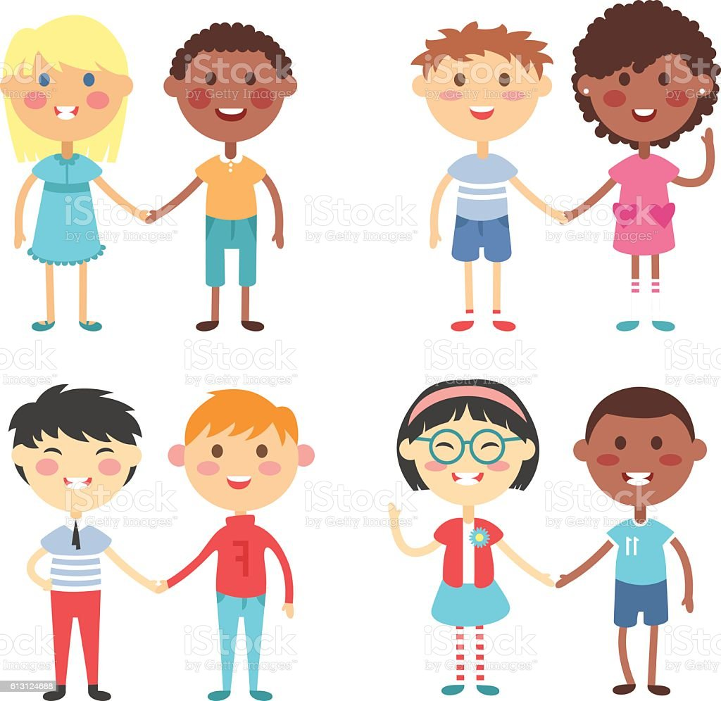 Kids holding hands vector vector art illustration