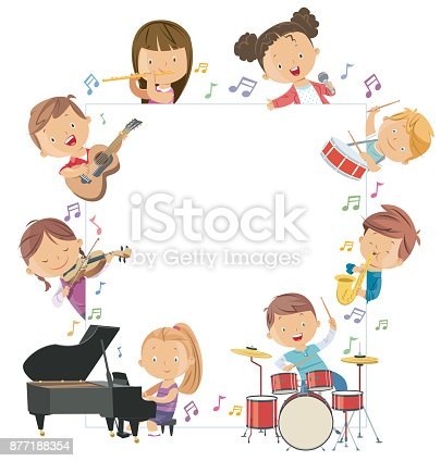 Vector Kids Holding Musical Instruments Surrounding a Blank Board