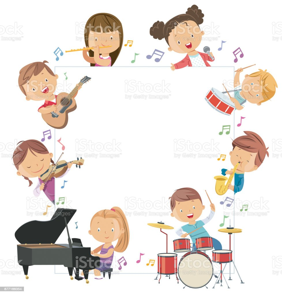 Kids Holding Musical Instruments Surrounding a Blank Board vector art illustration