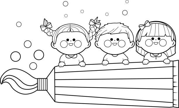 Enfants tenant dentifrice. Page de livre de coloriage - Illustration vectorielle