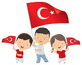 Kids holding Turkey flag