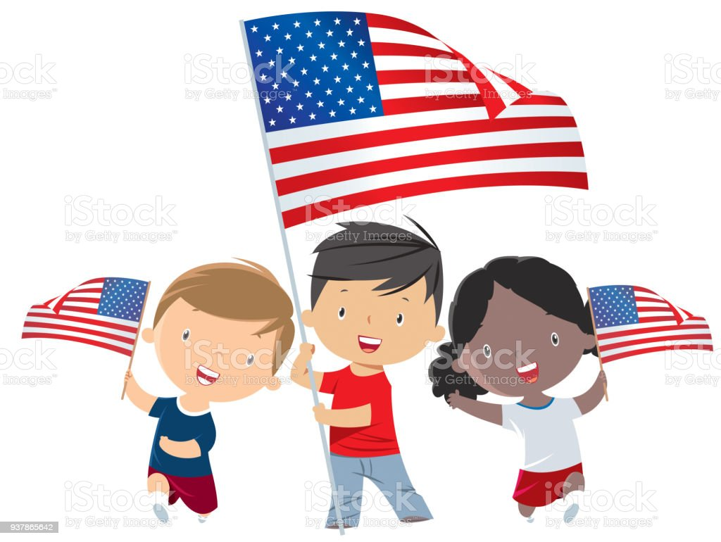 Kids Holding Usa Flag Stock Vector Art More Images Of American