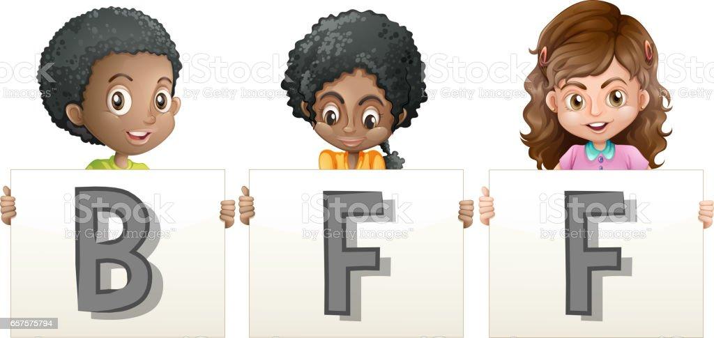 Kids holding word for BFF vector art illustration