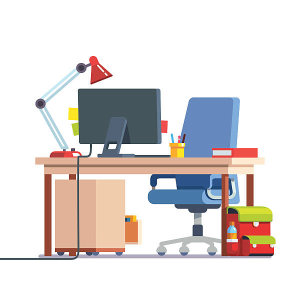 kids home learning and study desk - stuhllehnen stock-grafiken, -clipart, -cartoons und -symbole