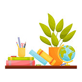 Kids home workplace. Books and stationery on the table. Education concept. Vector illustration.