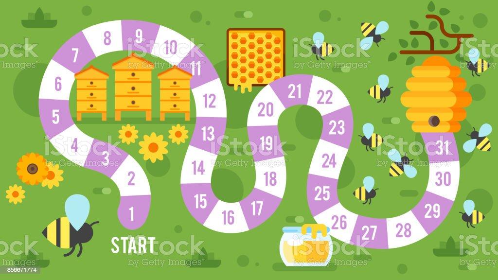 孩子們親愛的棋盤遊戲向量藝術插圖