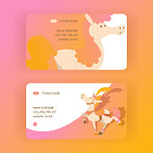Kids horse vector business-card cartoon pony horsed character with horn illustration horsy backdrop set of fantasy child ponytailed animal horse-breeding business card background.