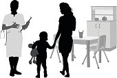 A vector silhouette illustration of a female doctor greeting a mother and young child at a children's hospital.