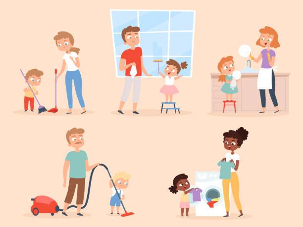 ilustraciones, imágenes clip art, dibujos animados e iconos de stock de tareas domésticas para niños. niños que ayudan a los padres a limpiar y lavar los caracteres vectoriales de la sala - tareas domésticas