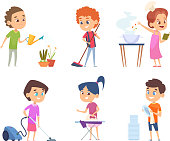 Kids housework. Childrens helping to their parents cleaning windows showering collect toys vector cartoon characters. Illustration housework cleaning, cartoon character vacuuming