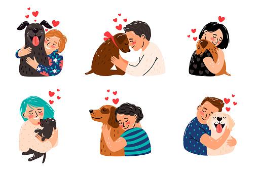 Kids hugging dog pets