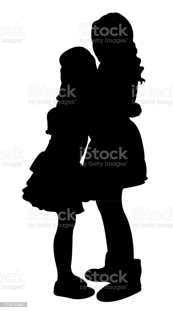 kids hugging silhouette vector vector art illustration