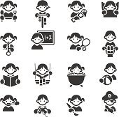 Set of 16 Kids daily related icons. JPG file and EPS8 file.