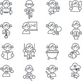Set of 16 Kids daily related icons in thin line. JPG file and EPS10 file.