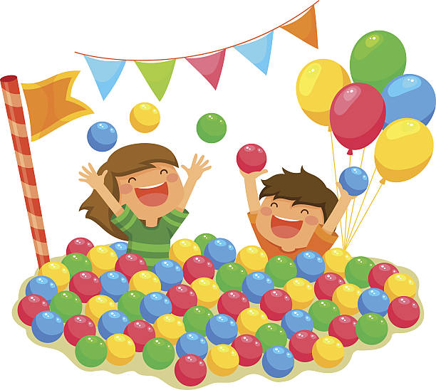 kids in a ball pit vector art illustration