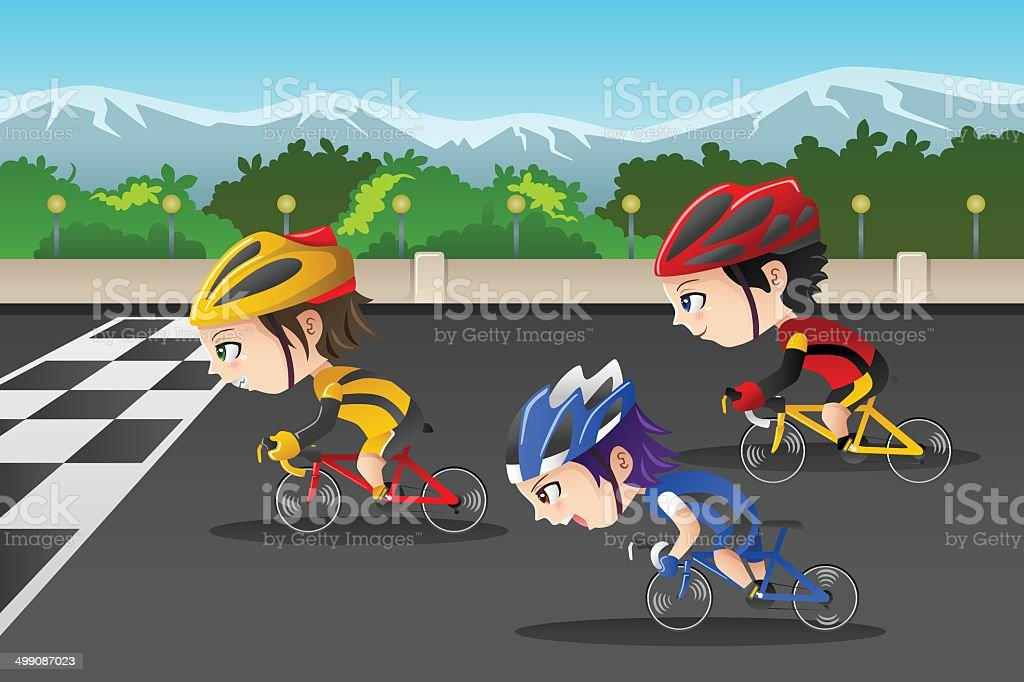 Kids in a bicycle race royalty-free stock vector art