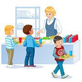 Kids in a Canteen Buying and Eating Lunch. Back to school. Cartoon vector isolated illustration