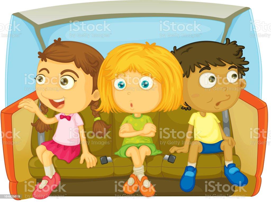 Kids in a car vector art illustration