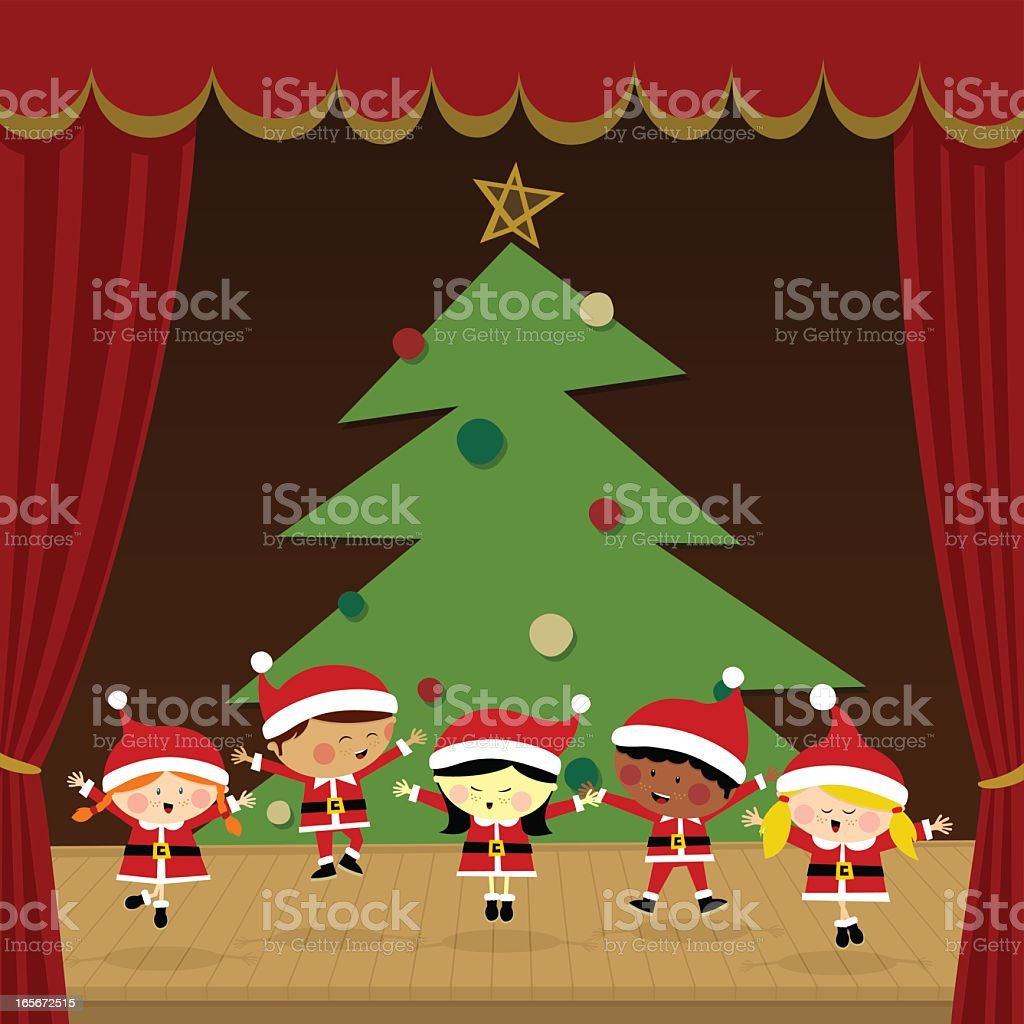 Kids in a christmas party vector art illustration