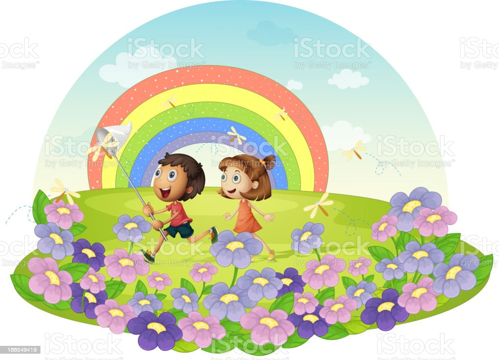 Kids in a field chasing insects royalty-free stock vector art