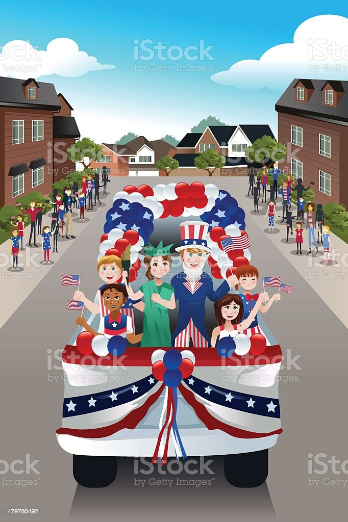 Kids in a Parade Celebrating Fourth of July vector art illustration