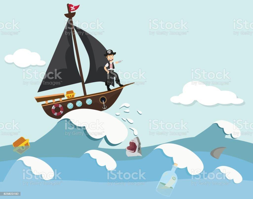 Niños en un barco pirata ilustración de niños en un barco pirata y más  banco de 0cca0d99985