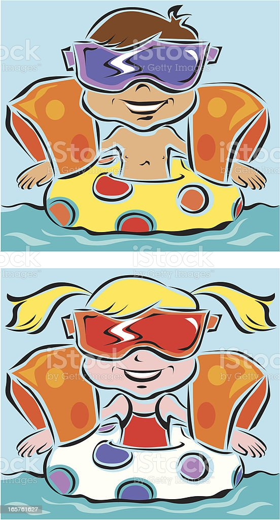 Kids in a pool royalty-free stock vector art