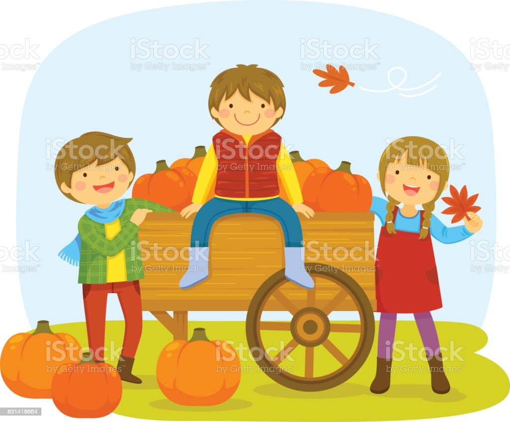 Kids in a pumpkin patch vector art illustration