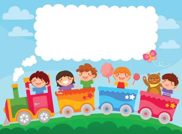 ilustraciones, imágenes clip art, dibujos animados e iconos de stock de niños en un tren con texto copia - tren