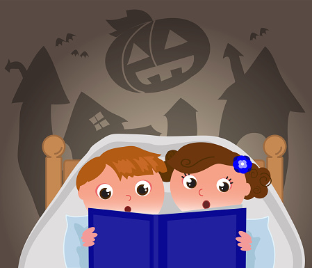 Kids in bed reading a Halloween story, vector illustration