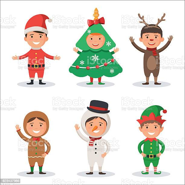 Kids in christmas holiday costumes vector id623437986?b=1&k=6&m=623437986&s=612x612&h=shk sic6jlthdha58nuqgwh3ivcfreyqducyqozqwgk=