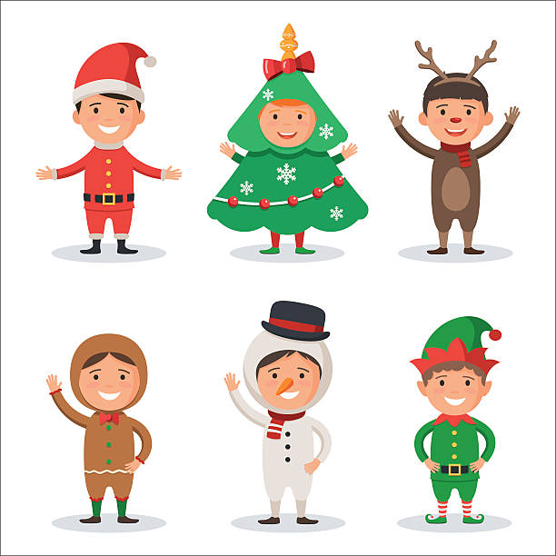 kids in christmas holiday costumes - happy holidays stock illustrations