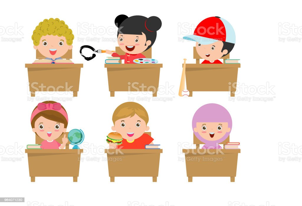 kids in classroom, child in classroom, kids studying in classroom, little school children, sitting at the desks,Back to school, Vector Illustration - Royalty-free Airplane stock vector