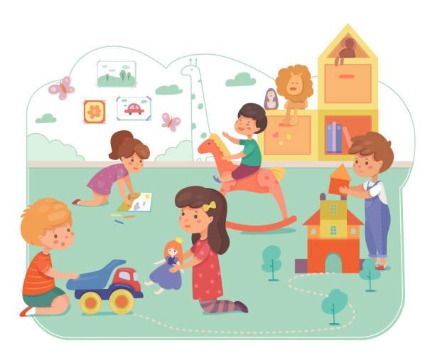 保育園の子供たち フラットベクトルイラスト - 保育点のイラスト素材/クリップアート素材/マンガ素材/アイコン素材
