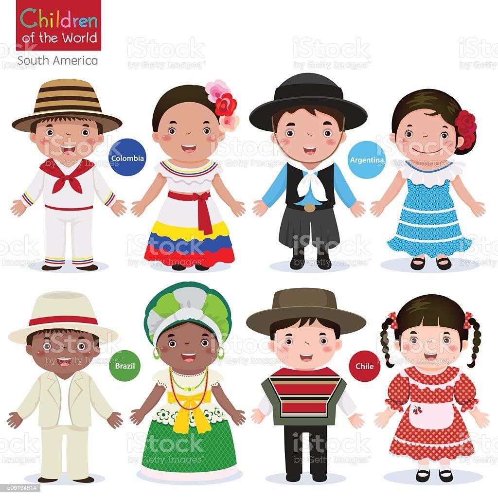 Crianças em diferentes trajes tradicionais (Colômbia, Argentina Brasil, Chile - ilustração de arte em vetor