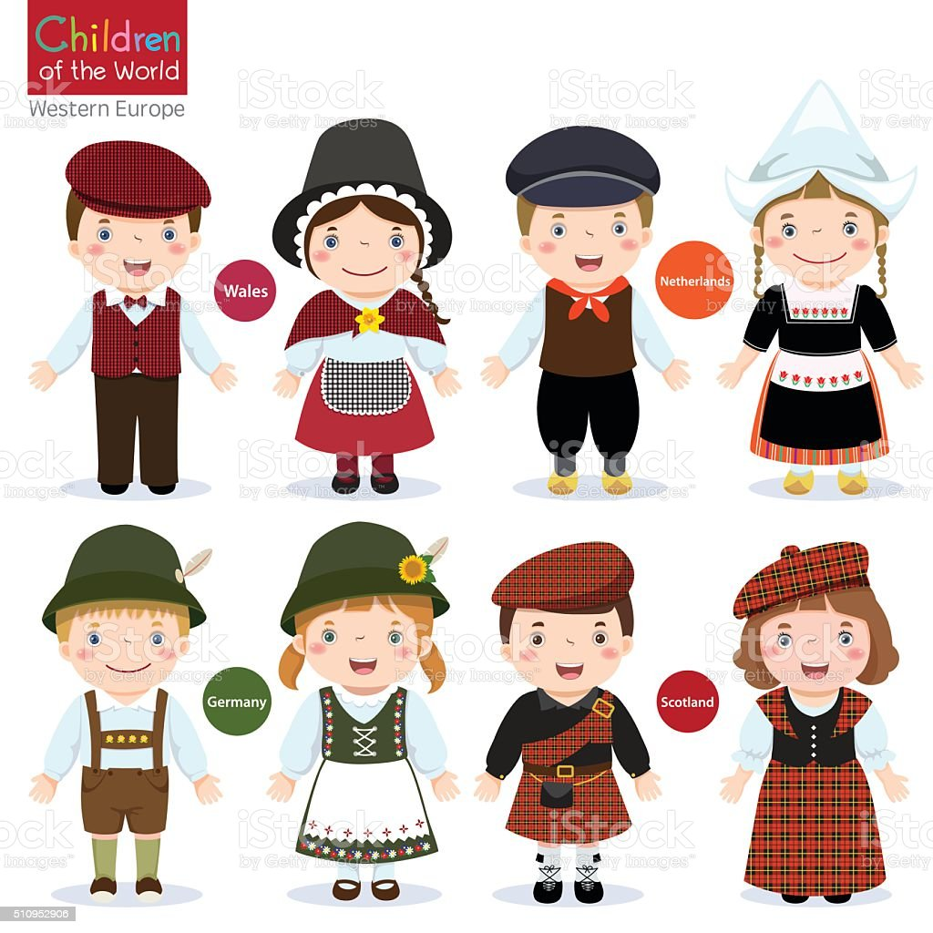 Kids in different traditional costumes (Wales, Netherlands, Germany, Scotland) vector art illustration